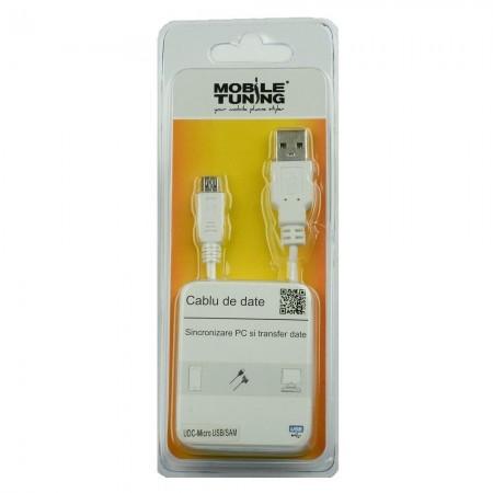 Cablu de date Mobile Tuning MicroUSB,Alb