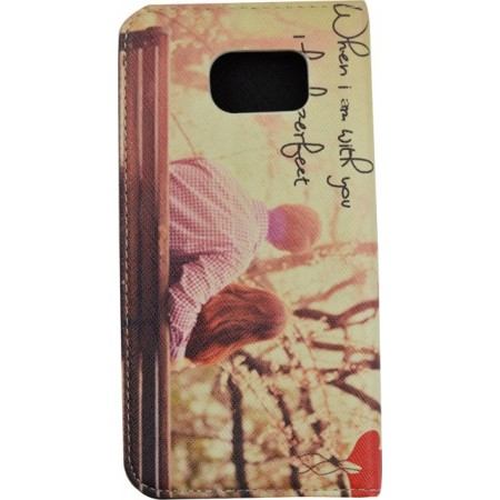 Husa Book Pocket Magnetic Lock pentru Samsung S6, Model When I am with you I feel perfect