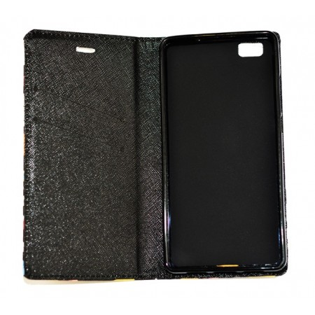 Husa Book Pocket Magnetic Lock pentru Huawei P8 Lite, Model Personaje