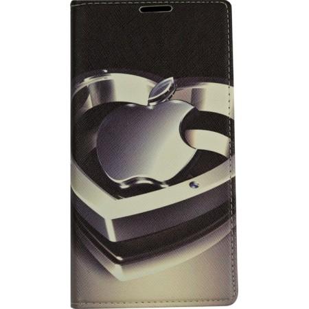 Husa Book Pocket Magnetic Lock pentru LG K8, Model Apple