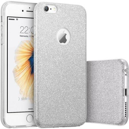 Husa capac siliconic 3 in 1 cu sclipici pentru Iphone 6, model argintiu