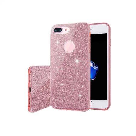 Husa capac siliconic 3 in 1 cu sclipici pentru Iphone 7, model roz