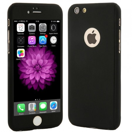 Husa Full Cover 360  (fata + spate+ geam sticla) pentru Apple iPhone 7, Black