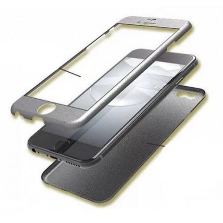 Husa Full Cover 360 (fata + spate+ geam sticla) pentru Samsung S7 Edge, Grey