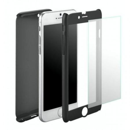 Husa Full Cover 360(fata + spate+ geam sticla) pentru Samsung A3 2017, Black