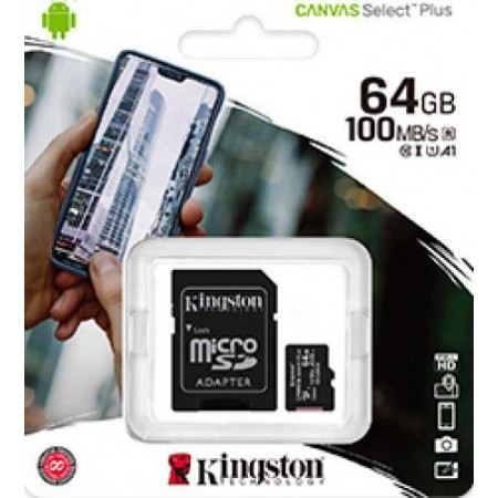 Card de memorie Kingston microSDHC 64GB, Class 10  + Adaptor Canvas Plus + Ambalaj Retail