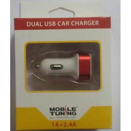 Incarcator auto Mobile Tuning pentru Tableta/Telefoane, 2 x USB, Intrare 100 - 240V / Iesire 1A + 2.4A