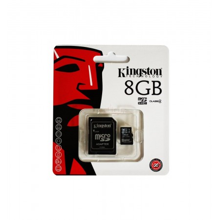 Card de memorie Kingston microSDHC 8GB, Class 4 + Adaptor + Ambalaj Retail