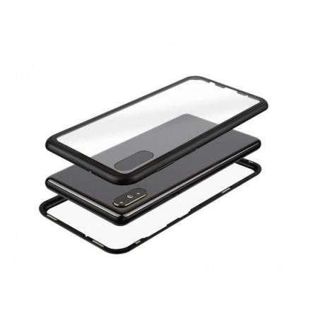 Husa Magnetic Glass 360° (sticla spate + bumper) pentru Samsung A30S, Black