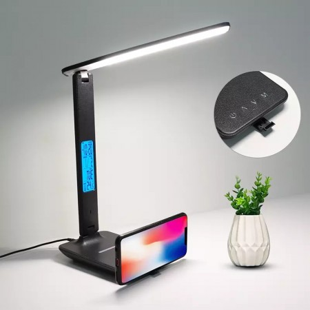 Lampa de birou cu LED , incarcator rapid Wireless, lampi de masa pliabile cu port de incarcare USB, temperatura , ceas, moduri multi-iluminare, 5 nivele de iluminare reglabila pentru birou, la domiciliu,Negru