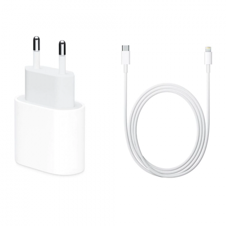 Incarcator Fast Charge Apple 18W si Cablu de date Fast Charge USB-C-Lightning 1m
