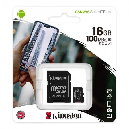 Card de memorie Kingston Canvas microSDHC 16GB, Class 10 + Adaptor + Ambalaj Retail