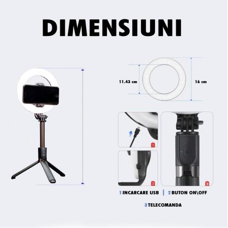 Inel trepied Selfie Stick Bluetooth L07, portabil, LED 5 inch, 90 cm